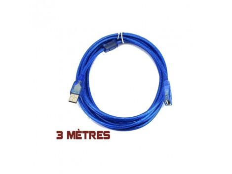 Cable USB 2.0 Male Femelle Rallonge 3m Bleu
