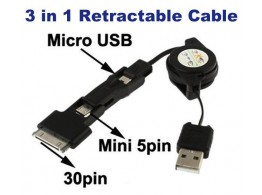 Cable USB 3 en 1 retractable  NOIR