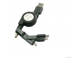 Cable USB 3 en 1 retractable pour iPhone Samsung