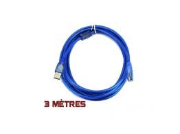 Cable  USB 2.0 Male Femelle  Bleu