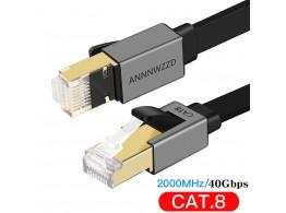Cable Ethernet Plat Blinde Noir CAT8 RJ45 40GB