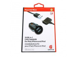 Griffin Chargeur USB Double Cable Compact  iPhone 4/4S