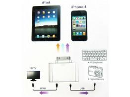 Adaptateur  30pin pour iPhone 4 / 4S iPad iPod USB Micro HDMI SD Light